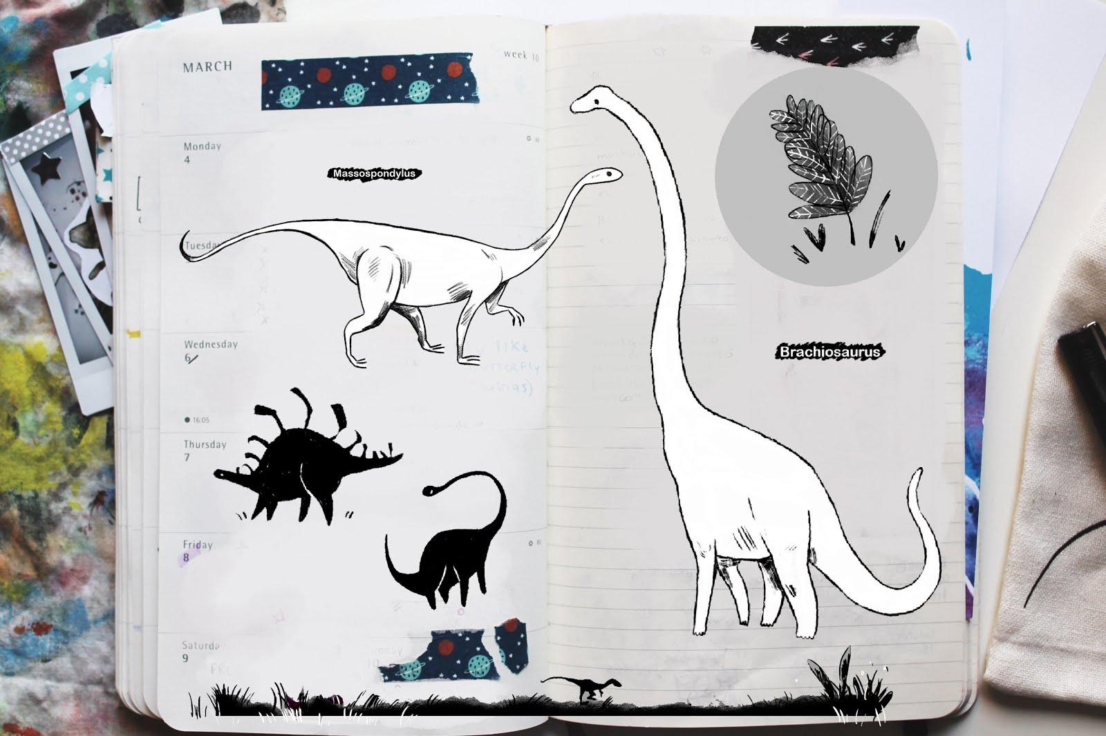 bocetos de dinosaurios