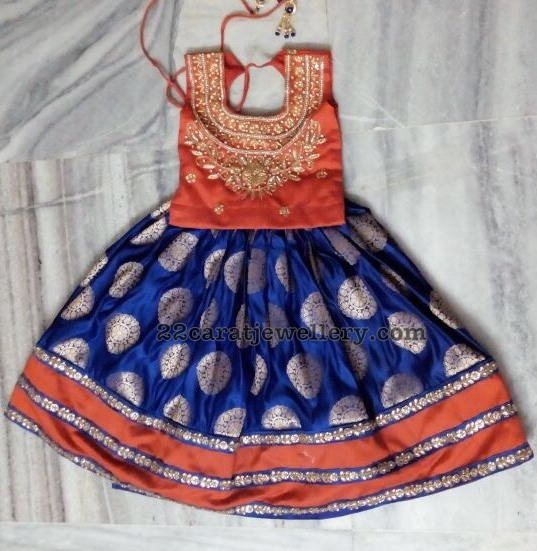 Blue Orange Benaras Kids Lehenga