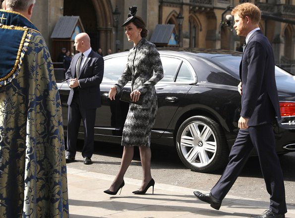 Kate, Prince William and Prince Harry attend Service of Hope. Kate Middleton wore Missoni Long Snake Stitch Coat