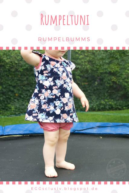 EGGsclusiv: Tunika und kurze Pumphose nähen, Schnittmuster Freebook, Rumpeltuni - Rumpelbumms, kurze Pumphose - Lybstes, Schleifentasche, Flügelärmel
