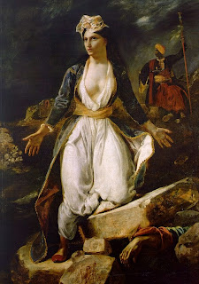 πίνακας του Ευγένιου Ντελακρουά 1826:  «Η Ελλάδα στα Ερείπια του Μεσολογγίου»