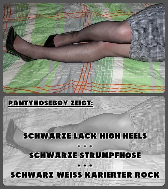 lack high heels schwarze strumpfhose karierter rock