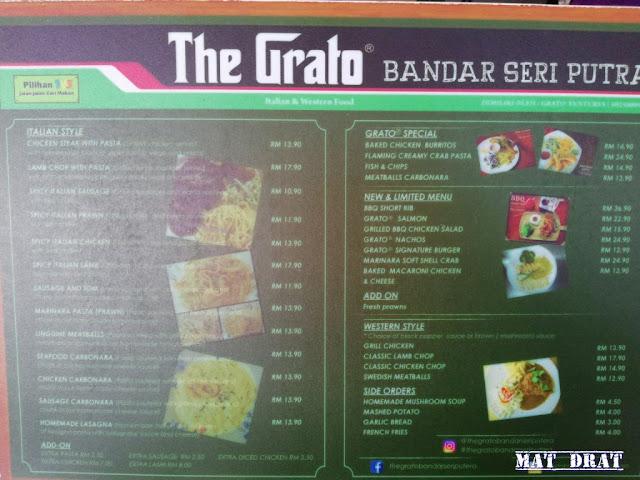 Grato - Western Food Sedap di Bangi  Harga dan Menu