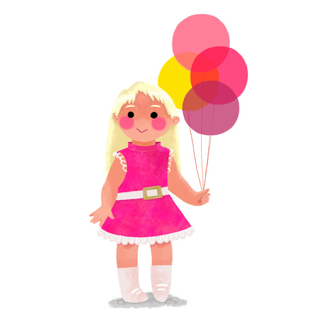 Claire O'Brien Illustration Children's Illustration Balloons Little Girl