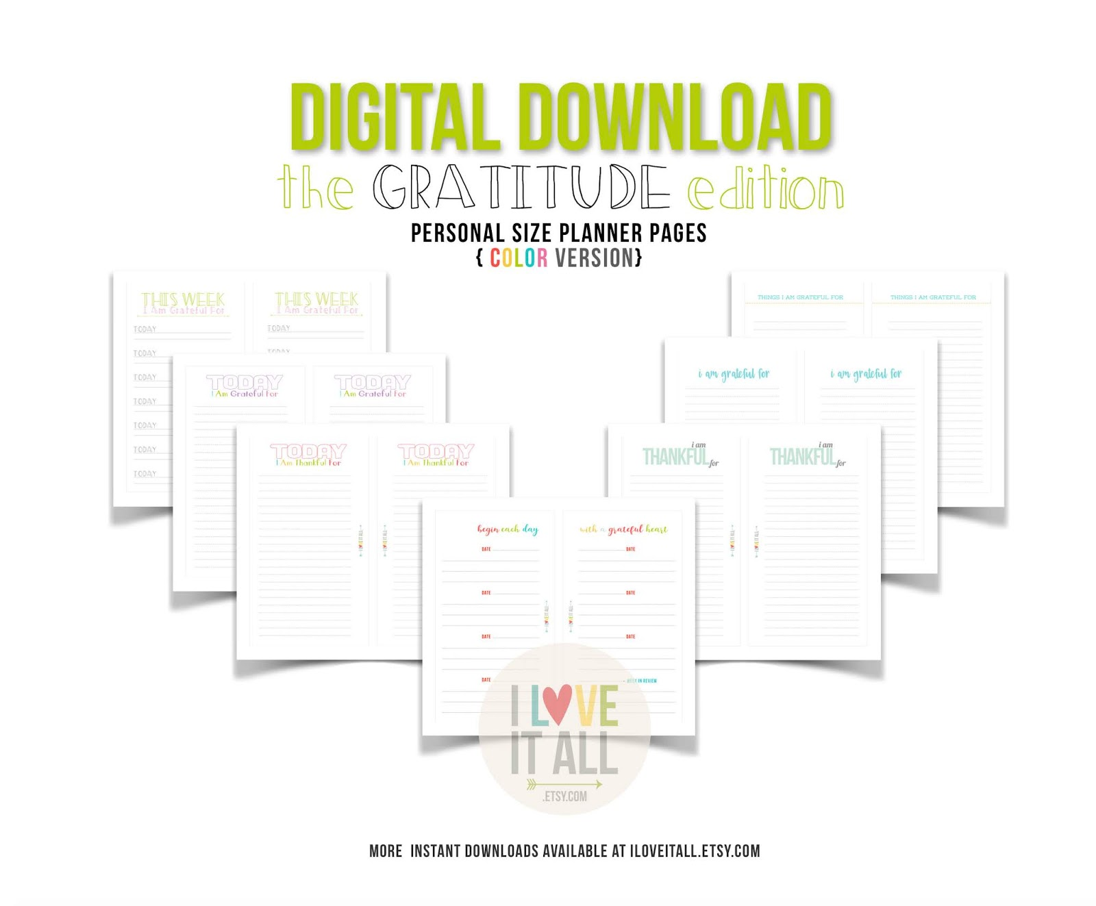 #Gratitude Journal #Gratitude #Grateful #Thankfulness #Digital Download #Filofax #Planner Pages #365 Things #Today