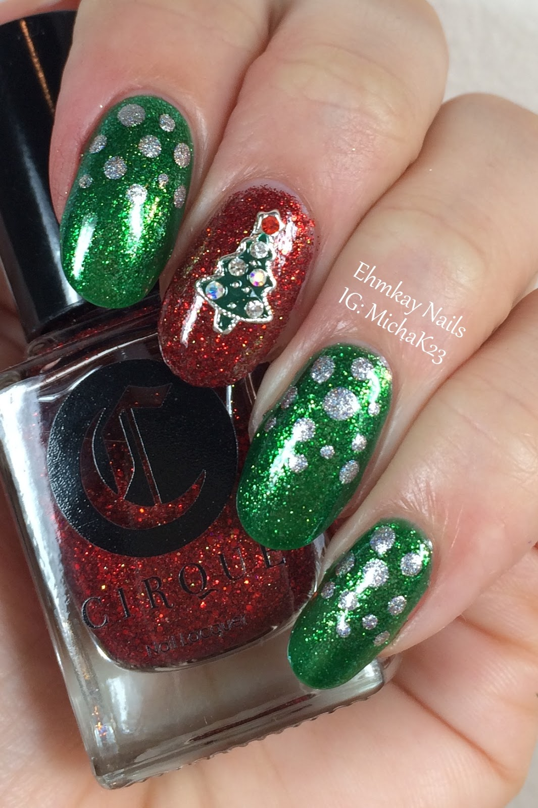 Christmas Nail Art French Manicure Red With White: Ehmkay Nails: Christmas Tree Nail Jewelry And Easy Festive