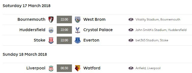 Jadwal Liga Inggris Sabtu-Minggu 17-18 Maret 2018 - Pekan 31
