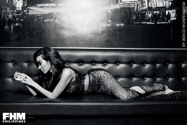 Nicole Asensio black bikini sofa
