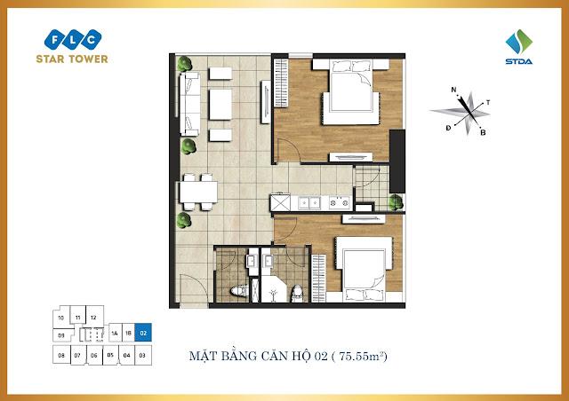 thiết kế căn hộ flc star tower 75,55m2