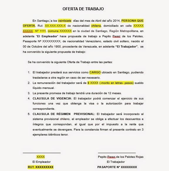 Carta de oferta de trabajo visa temporaria chile blog for Ofertas de empleo banco exterior