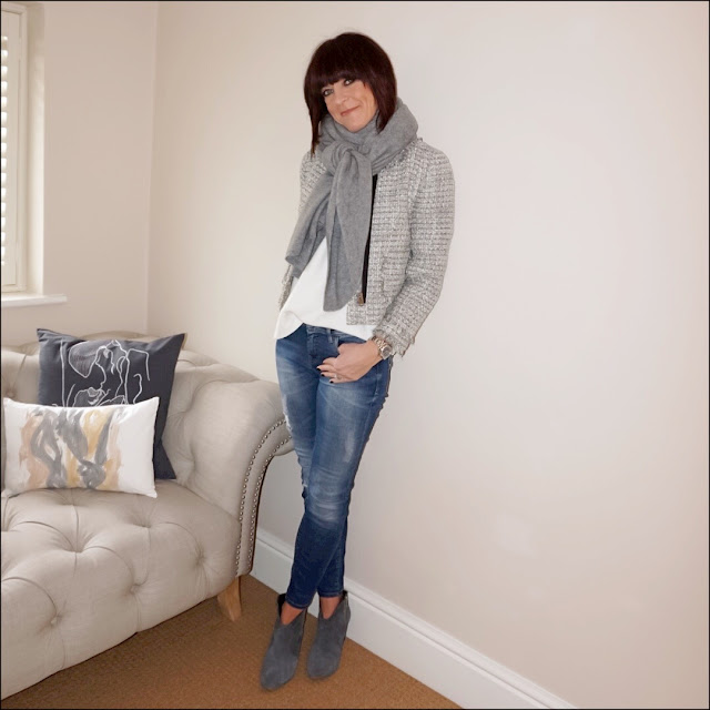 My Midlife Fashion, Zara cashmere scarf, J Crew metallic tweed lady jacket, massimo dutti loose fit jumper, zara distressed skinny jeans, hush thornton ankle boots