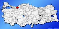 Düzce ilinin Türkiye haritasında gösterimi