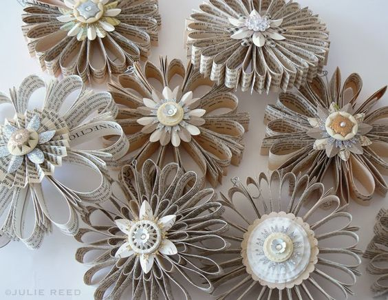 image result for handmade vintage book paper flower wreaths