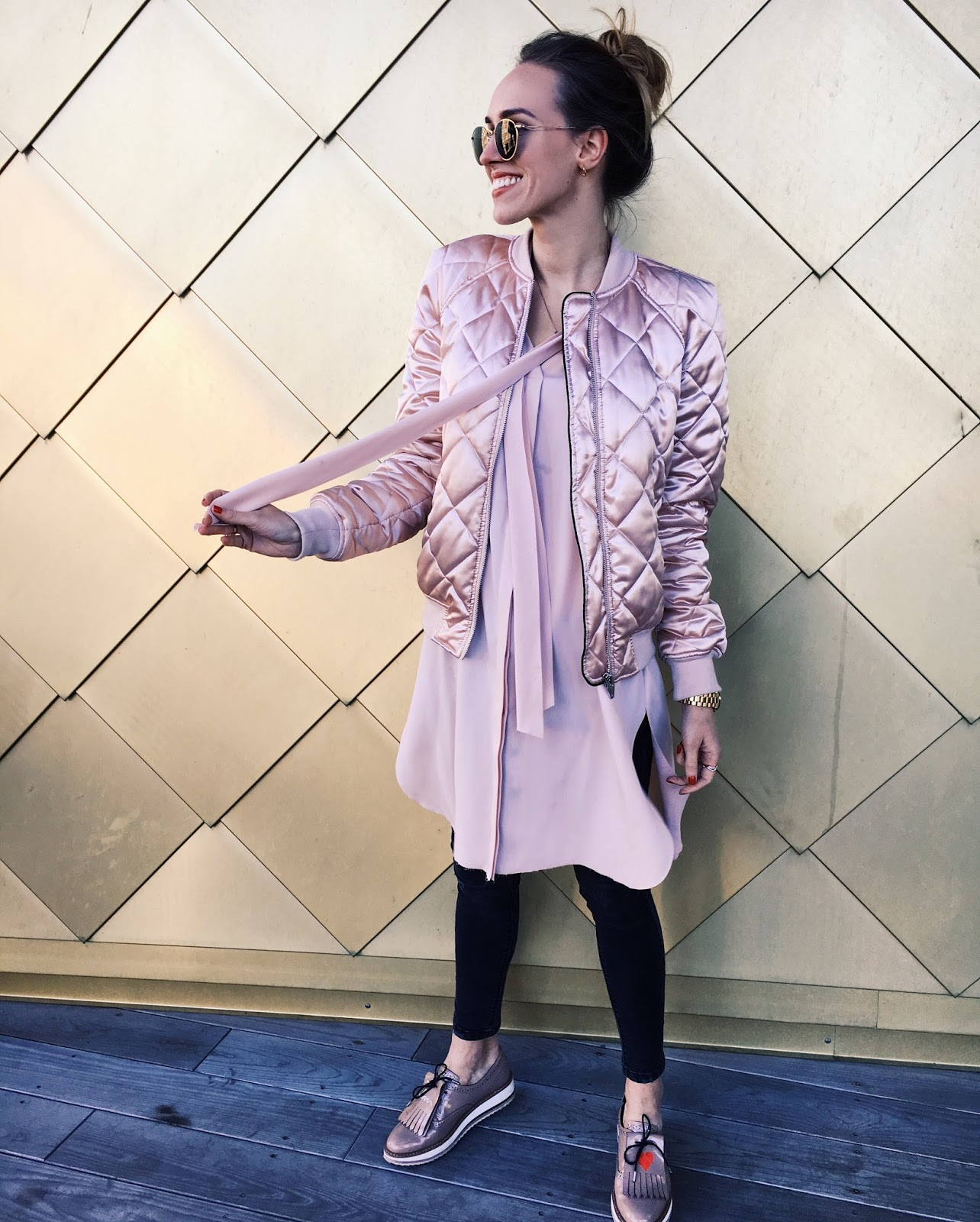 pink dress pink bomber jacket outfit