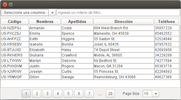 JTable Paginado o Lazy y con Filtros - SwingUtils