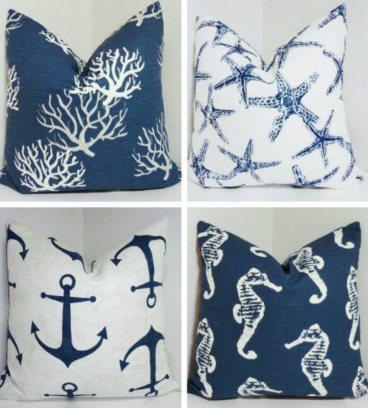Navy Blue Nautical Pillow Covers