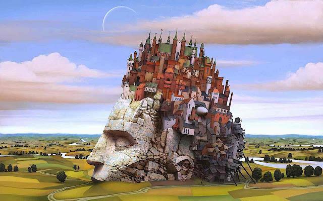 Jacek Yerka art in color, strange landscape
