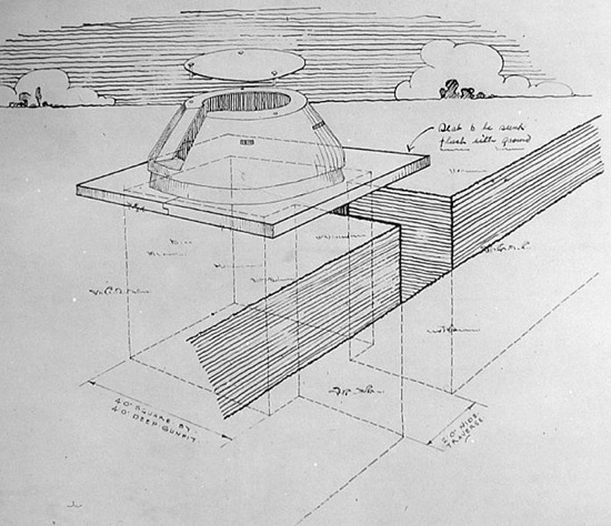 Scan of a sketch of a Tett turret accessible via slit trench Image by HM Government (The National Archive AVIA 22/1550 - Tett Turret) [Public domain], via Wikimedia Commons