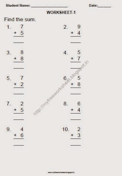My Free Worksheet: Free Printable Addition Worksheets For Grade 1 Maths