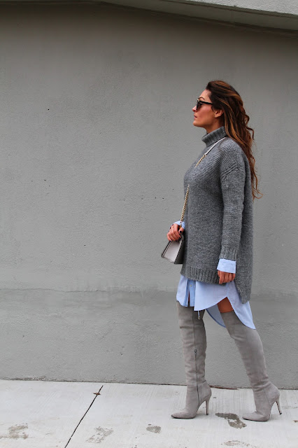 Oversized dressing, sweaterdress, over the knee outfit, cizme preko kolena, canadian fashion blogger, kako nositi dzemper haljinu, monochromatic outfit, outfit insipration, winter outfit, zara sweaterdress, outfits with over the knee boots