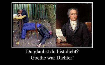 Lustiges Bild Alkohol Spruch - Goethe war Dichter witzig