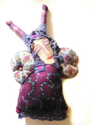 Purple Dreaming Butterfly Painted Muslin Whimsy Women Spirit Doll
