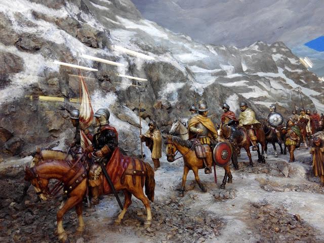 Diorama Diego de Almagro cruza la cordillera de los Andes en 1536 en metro Salvador de Santiago de Chile
