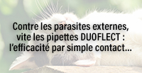 Contre les parasites externes, vite les pipettes DUOFLECT : l'efficacité par simple contact…