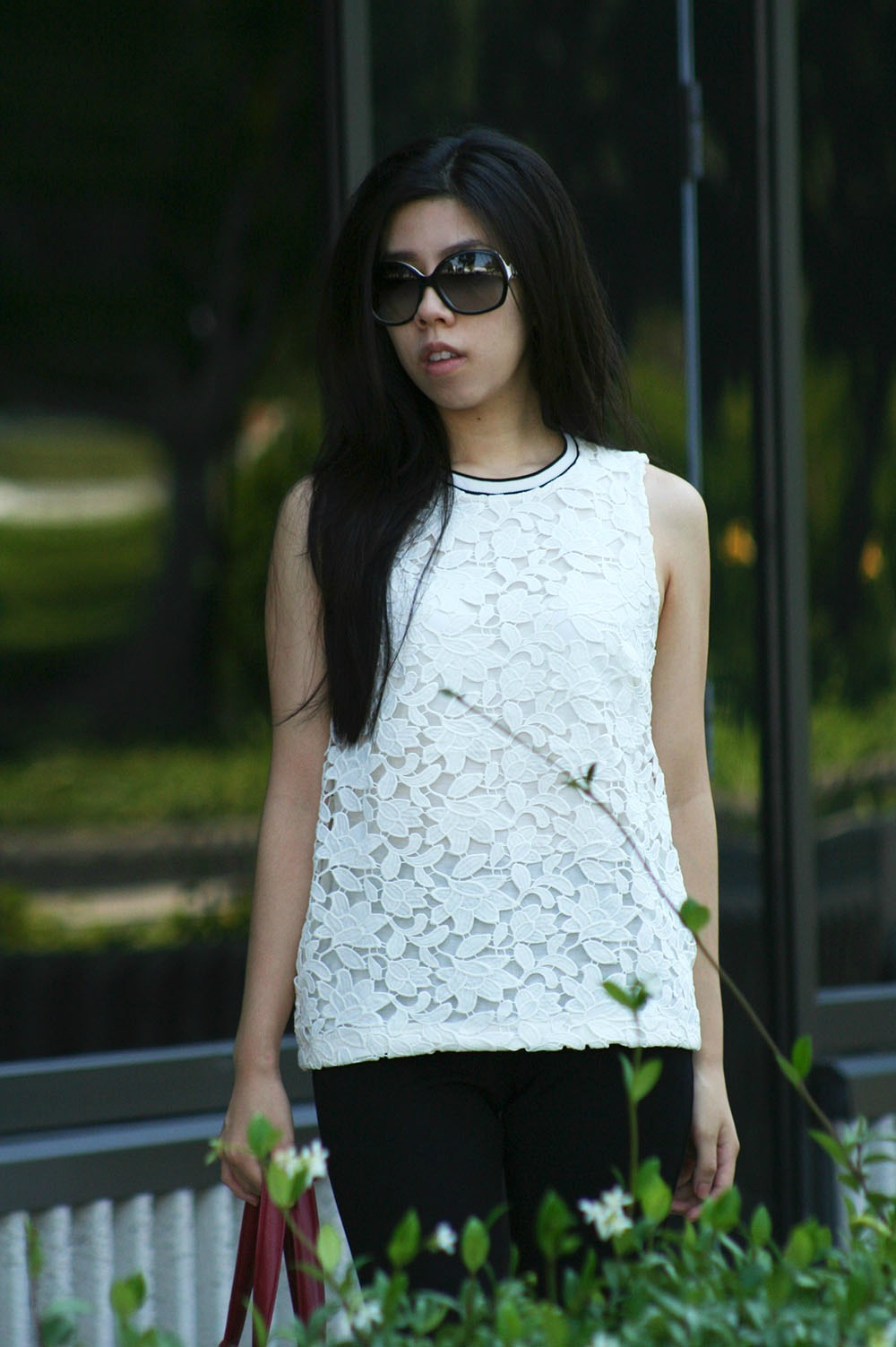 White LAce top with Black Trim _ Tahari Flare Pants