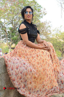 Actress Chetana Uttej Stills in Floral Long Skirt at Pichiga Nachav Movie Press Meet  0081.JPG