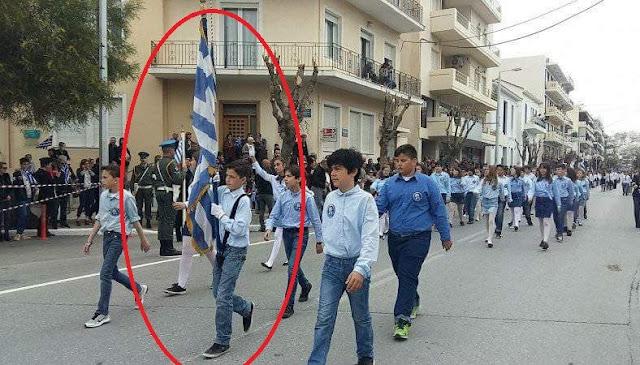 Veldrin raising the Greek flag