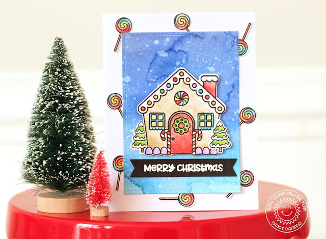 Sunny Studio Stamps: Jolly Gingerbread Starry Sky Background Christmas Card by Nancy Damiano
