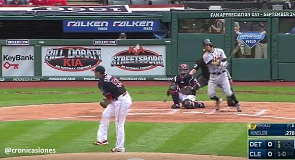 Carlos Carrasco Lesionado #VIDEO en victoria de Cleveland sobre Detroit