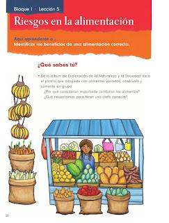 Apoyo Primaria Formación Cívica y Ética 1er grado Bloque 1 Lección 5 Riesgos en la alimentación