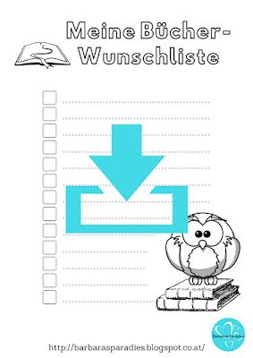 Download - Bücher-Wunschliste mit Eule zum Ausmalen