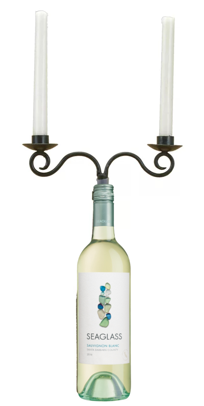 Coastal Sea Glass Wine Bottle Candle Holder Candelabra