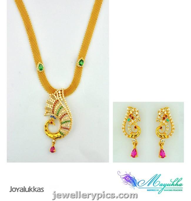 jewelry: Joyalukkas Mayukha pendent earrings set - Peacock ...