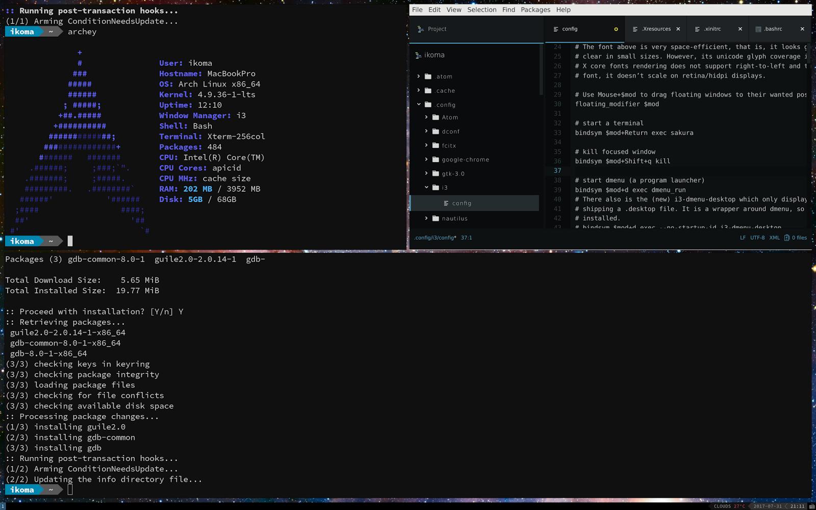 i3wm 厨二感溢れる軽量デスクトップ環境