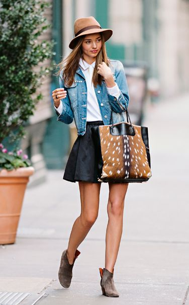 Miranda Kerr, get the look, fedora hat outfit inspiration