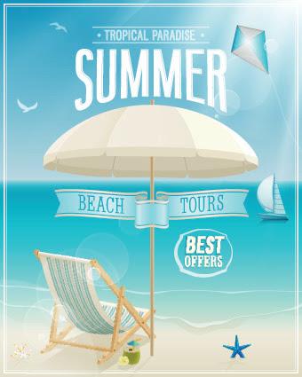 Happy summer design elements vector