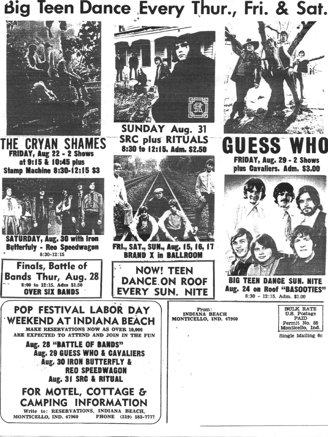 The Indiana Beach Amut Park Was Quite Szene In 60 S Check Out This Slice Of History August 68 And Look At Treasure Bands That