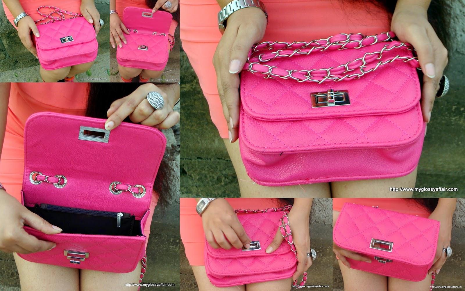 coral dress and pink sammydress bag