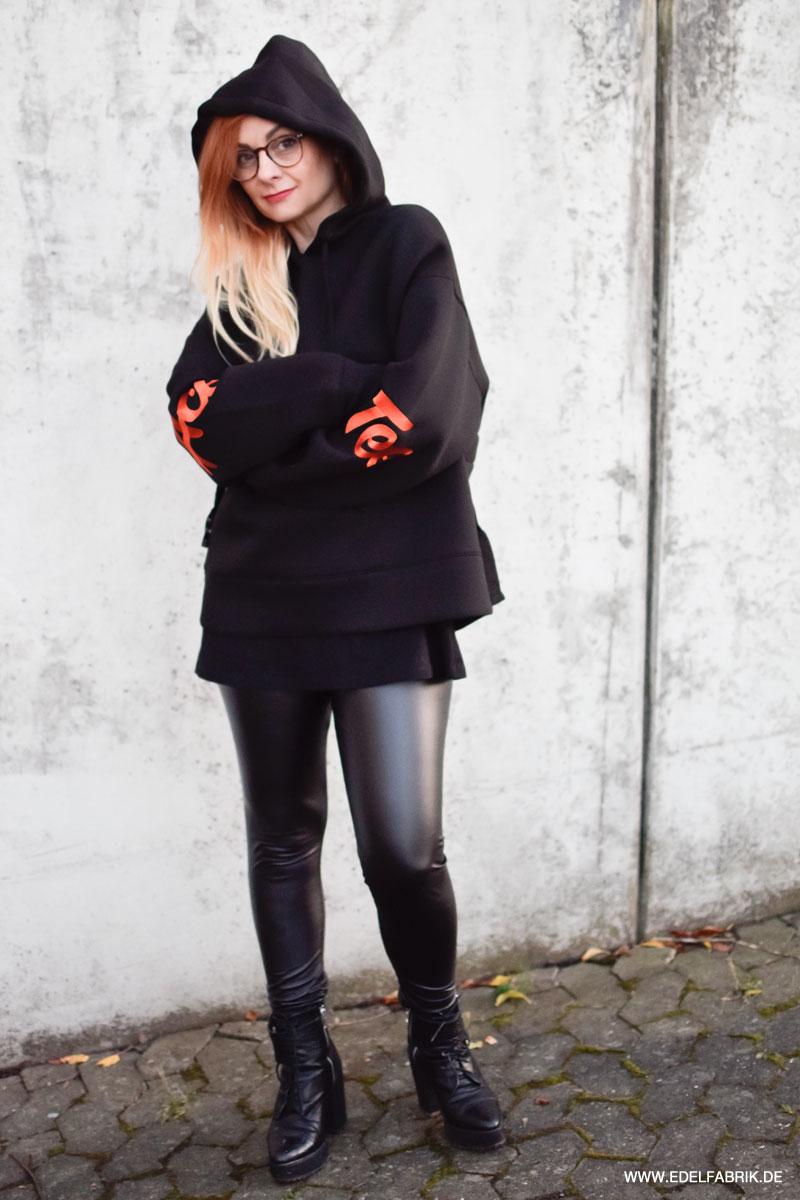 schwarzer Kapuzen Hoodie für Frauen von H&M