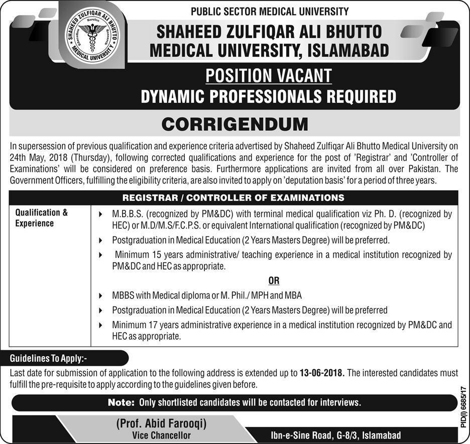 Corrigendum Shaheed Zulfiqar Ali Bhutto Medical University