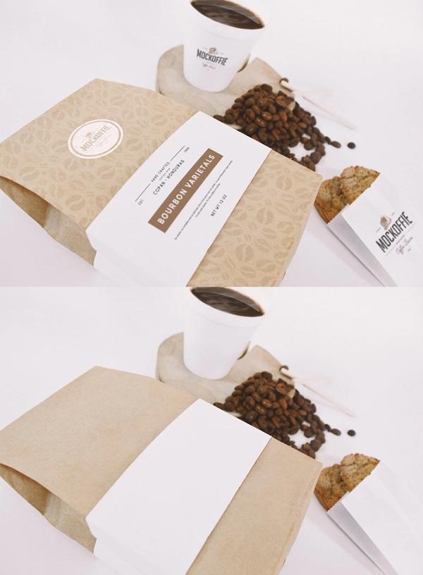 Mockup terbaru 2017 gratis - Free Coffee Bag And Cup Mockup Freebie