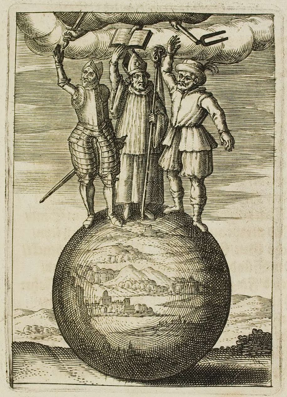 emblem: priest soldier & nobleman atop orb of world