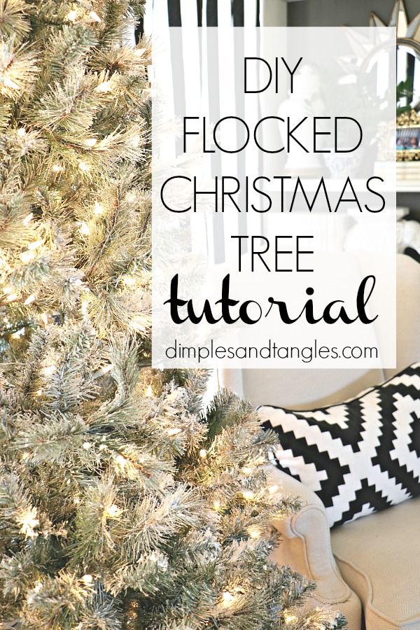 flocked christmas tree, how to flock a tree, snow flocking