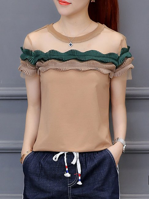 Summer Polyester Women Round Neck Patchwork See-Through Plain Short Sleeve Blouses-Summer Sale Price:US$14.95