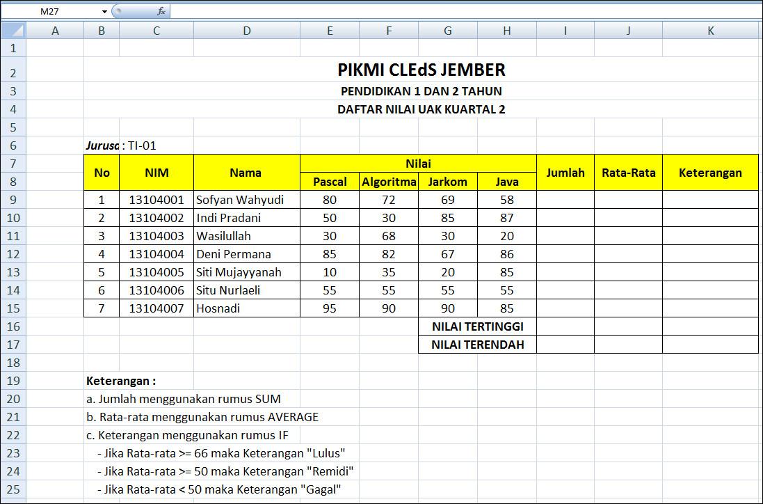 Download Soal Excel Wawancara