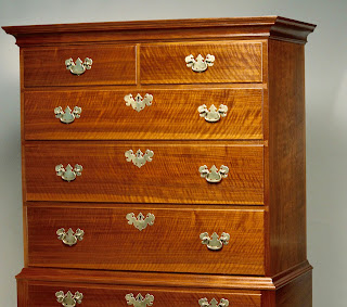 Curly Walnut High Chest of Drawer